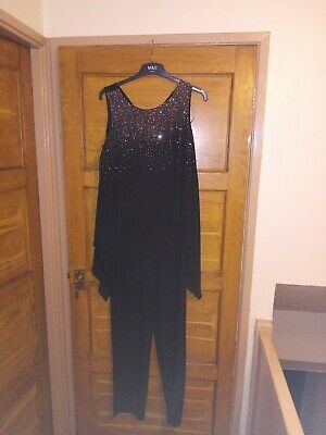BNWTS Roman Jumpsuit In Black & Chiffon Silver Glitter Over Top Size 12 RRP £50  • 19.99£