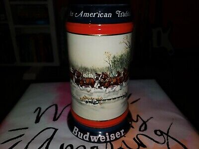 $ CDN1.26 • Buy Budweiser Holiday Beer Stein Mug 1990  An American Tradition  Clydesdale Horses