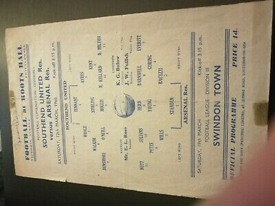 Southend United Reserves V Arsenal 12/3/60 • 5£