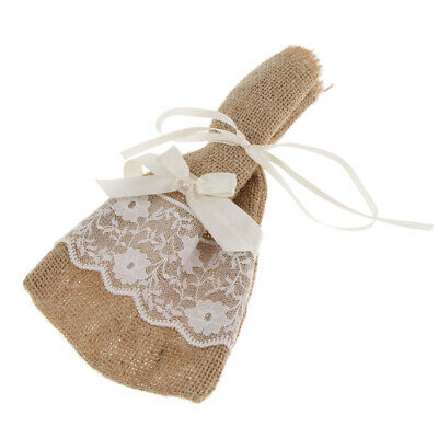 £3.28 • Buy Vintage Hessian Burlap Lace Pouch Bags Gift Bags Rustic Wedding Party Favor