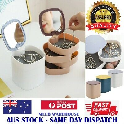 AU14.95 • Buy New 360° Rotating Jewellery Storage Box With Mirror - Earring Necklace Organiser