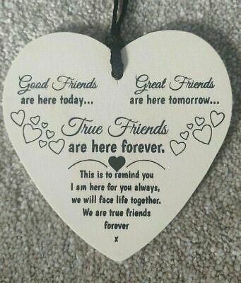 £2.99 • Buy Heart Friendship Plaque Best Friend Gift Hanging Wooden Sign Shabby Chic Decor