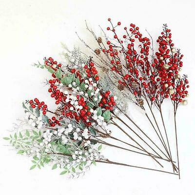 Christmas Artificial Branch Pine Berry Cone Red Fruit Fake Flower DIY Deco M7K2 • 3.48£