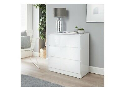 £99.99 • Buy Norsk Gloss White 3 Chest Of Drawer Bedroom Furniture