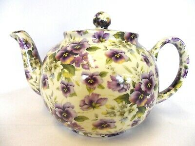 £31.99 • Buy Heron Cross Pottery 6 Cup Teapot In Purple Pansy Design