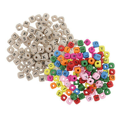 £5.67 • Buy 200pcs Wooden Alphabet Letters Loose Cube Beads For Beading Crafts 10mm