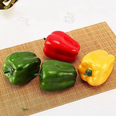 3pcs Artificial Chili Peppers Fake Vegetables Children Teaching Kitchen-Decor • 5.38£