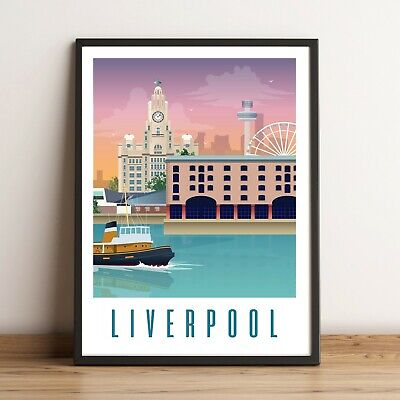 Art Wall Print A4 Edinburgh Liverpool Lake District Tenby Cornwall • 9.99£