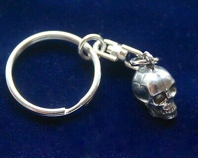 Small Pewter Human Skull Keyring & Gift Pouch, Silver Metal Realistic Skeleton • 8.99£
