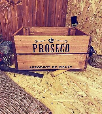 Rustic And Vintage Wooden Proseco Crate - Box Storage • 19.99£