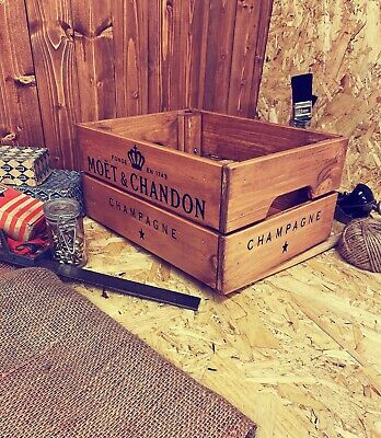 Rustic And Vintage Wooden Moet Champagne Crate - Box Storage • 19.99£