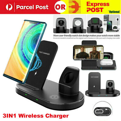 AU15.69 • Buy 15W Qi Wireless Charger Fast Charging Dock Stand For Airpods Apple Watch IPhone