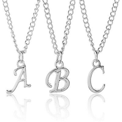 £2 • Buy Silver Plated Scroll Initial Letter Alphabet A-Z  Adjustable Necklace 18-24