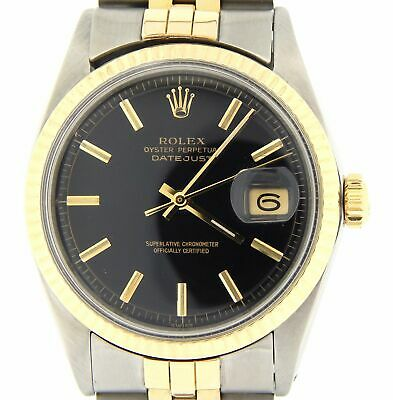 $ CDN5580.47 • Buy Rolex Datejust Mens Two-Tone Yellow Gold Stainless Steel Watch Black Dial 1601