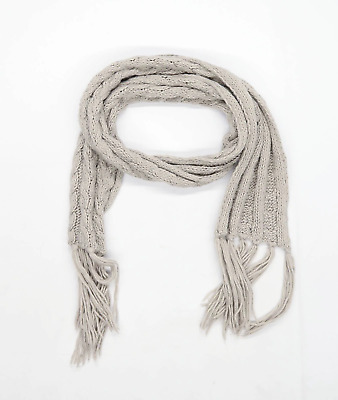 £5 • Buy Preworn Grey Womens Cable-Knit Scarf