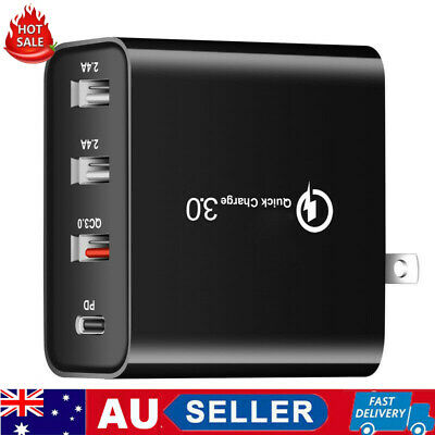 AU18.71 • Buy AU Plug 4 Multi-Port Fast Quick Charge QC3.0 USB Hub Mains Wall Charger Adapter
