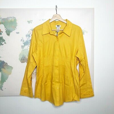 Monroe And Main Button Down Top Size 14 Yellow Lace Cuffs Pleated Cotton NWT • 13.15£