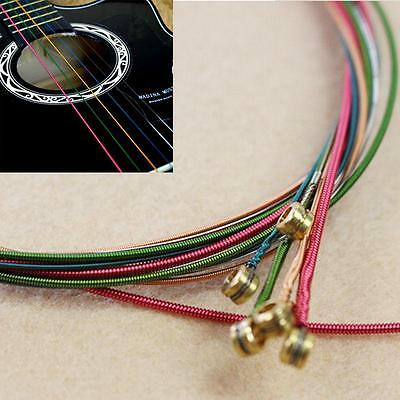$ CDN1.55 • Buy 6pcs Metal Stainless Rainbow Color Strings String Set Fit Acoustic Guitar CS