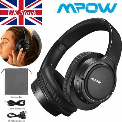 Mpow H7 WIRELESS & WIRED Headset Bluetooth Headphones Over Ear With Microphone • 24.29£