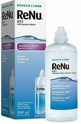 Renu Bausch + Lomb MPS Multi- Purpose Solution, 240ml Contact Lens Cleaner Care • 8.99£