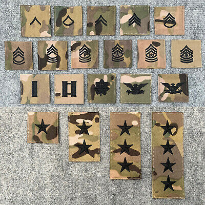 £6.99 • Buy US Army Style Multicam Rating Rank Insignia Patch Hook & Loop Back, E-2 To 0-10