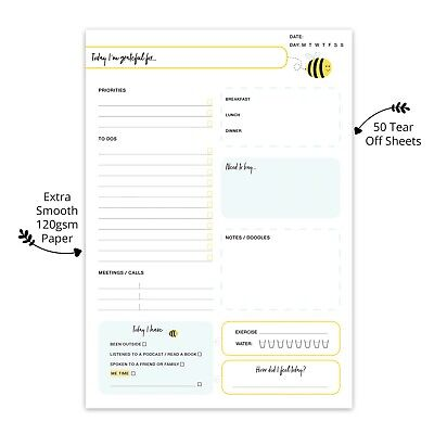£6.99 • Buy A5 Daily Planner Work Life To Do List Notepad Memo Organiser Desk Pad Cute Bee