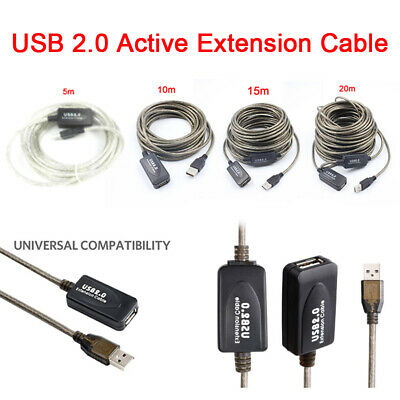 AU16.85 • Buy 5M、10M、15M、20M Usb Extension Repeater Cable Signal Booster A Male To A Fem WH