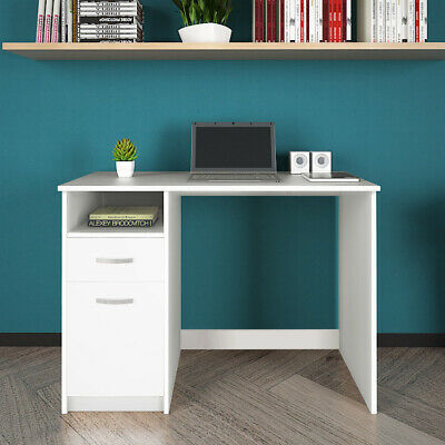 Corner White Computer Desk PC Dressing Table W/Drawer Cabinet Laptop Home Office • 85.99£