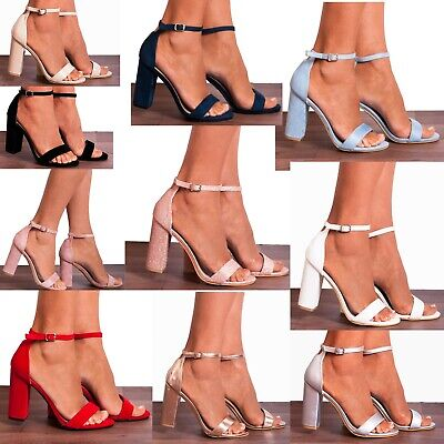 £19.95 • Buy Block High Heeled Peep Toes Strappy Sandals Heels Ankle Strap Shoes Size 3 4 5 6