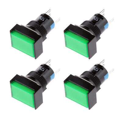 4x LED Illuminated Square Push Button Momentary Switch With Light 12V Green • 4.35£