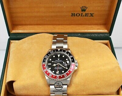 $ CDN17675.15 • Buy Rolex GMT-Master II 16710 Coke Black / Red Bezel 40MM Oyster Watch Mint No Holes