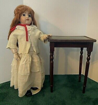 $65 • Buy Antique Large Doll Size Mahogany Side Table W/ Green Leather Top! - Rare!
