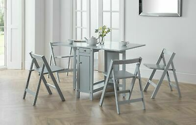 £239.99 • Buy Savoy Folding Drop Leaf Butterfly Dining Set With Table 4 Chairs Light Grey