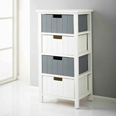 Nautical Escape Chest Of 4 Drawers Living Bedroom Bathroom Furniture White Grey • 69.99£