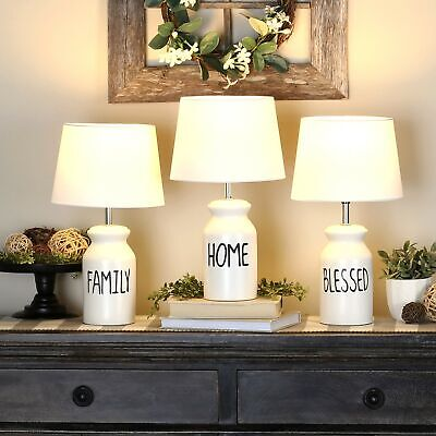 $38.98 • Buy Farmhouse Milk Can Style Sentiment Switch Lamp With Shade