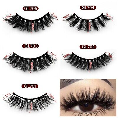 5Pair 3D Mink False Eyelashes Wispy Cross Long Thick Soft Fake Eye Lashes UK • 2.99£