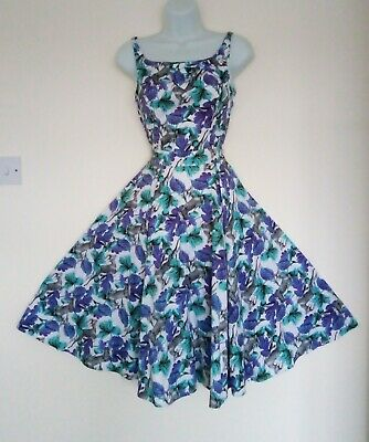 £14.99 • Buy Hearts And Roses Vintage Style Rockabilly Swing Dress Size 8 Exc Cond