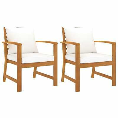 AU220.99 • Buy VidaXL 2x Solid Acacia Wood Garden Chairs With Cream Cushion Seating Furniture