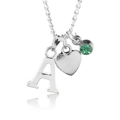 £2.75 • Buy Birthstone Heart Necklace August Silver Plated Initial Letter Alphabet A-Z 18