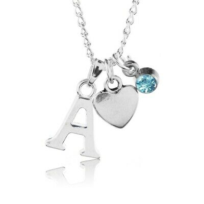 £2.75 • Buy Birthstone Heart Necklace December Silver Plated Initial Letter Alphabet A-Z 18