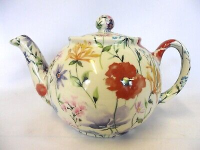 £22.99 • Buy Heron Cross Pottery Poppy Meadow Design 2 Cup Teapot Made In England.