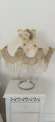 Art Deco Vintage Ivory Chiffon Lace Pleated Lampshade Downton Abbey Shabby Chic • 99£