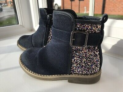 Super Cute Debenhams Blue Zoo Girls Navy Sparkly Zip Up Boots Infant Size 8 • 3.50£