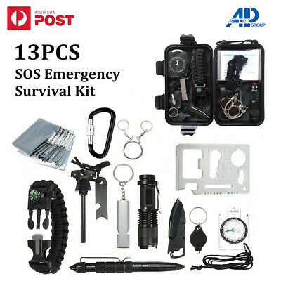AU23.95 • Buy 13 In 1 Outdoor Emergency Survival Equipment Kit Sports Tactical Hiking Camping