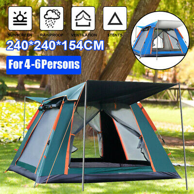 AU85.29 • Buy 4-6 Person Camping Tent Anti-UV Waterproof Automatic Opening Outdoor Tent Set AU