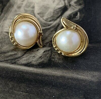$448.70 • Buy Stunning Pair Of Large Mabe Pearl Earrings In Solid 9ct Yellow Gold Hallmarked