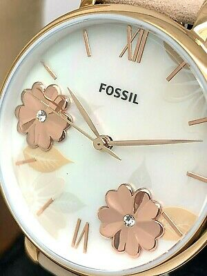 $ CDN86.60 • Buy Fossil Women's Watch ES4671 Jacqueline Floral Dial Rose Gold Blue Leather Strap