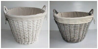 Large Lined Wicker Basket In White Or Grey  45 X 36 Or 44 X 30 Beautiful Storage • 25.95£