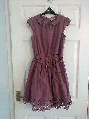 £9.99 • Buy Girls, Purple, 100% Cotton, Broderie Anglaise Dress With Belt Size 12 Years