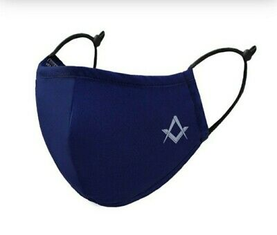 4Ply Blue Face Mask Freemasons Masonic Reusable With Square & Compass +Donation • 5.69£